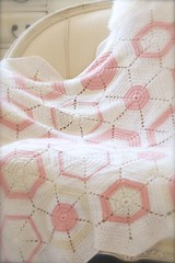 crochet hexagon afghan in pink and white (athenastudio) Tags: athenastudio athenastudiohandmade crochet crochetafghan crochetedhexagonalblanket hexagons hexagonalmotifs crochethexagons