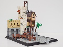 Port Anguilla (without minifigures or ship) (W. Navarre) Tags: lego moc port anguilla attack cat claw cats claws pirate story build brown castle tourney