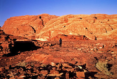 (louis de champs) Tags: minoltasrt101 film agfaprecisa100 vividcolors wadirum jordan desert rocks sunset alone