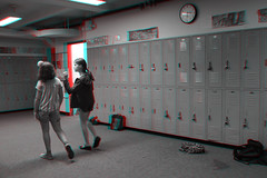 Brooklyn, New York (DDDavid Hazan) Tags: brooklyn ny newyork nyc newyorkcity highschool school lockers student teenager hallway anaglyph 3d 3danglyph 3dstereophotography redcyan redcyan3d stereophotography stereo3d