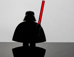 Vader (jeff's pixels) Tags: macromondays silhouette macro monday lego minifigure starwars darthvader darth toy fun lightsaber reflection