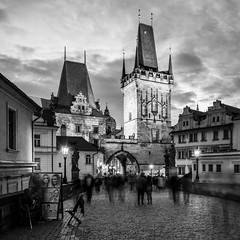 Portrait of Prague (McQuaide Photography) Tags: prague praag praha czechrepublic českárepublika czechia centraleurope europe sony a7rii ilce7rm2 alpha mirrorless 1635mm sonyzeiss zeiss variotessar fullframe mcquaidephotography adobe photoshop lightroom manfrotto tripod light architecture outdoor outside building city capitalcity dusk twilight longexposure landmark touristattraction travel tourism gothicarchitecture gothic charlesbridge karlůvmost malástrana lessertown bridgetower tower gate blackwhite bw blackandwhite mono monochrome old oldbuilding history historic square squarecrop 11 wideangle