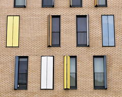 Flats (Claudio17177) Tags: colours brick tonal contrast modern flats apartments blinds sun summer scotland glasgow building exterior street geometry patterns blind yellow blue morning outdoor minimalistic nopeople
