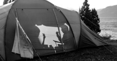 breakfast in a tent (gunnarkruse) Tags: camping zelt schatten schwarzweis sw bw norwegen norway mon monochrome blackandwhite einfarbig tent shadow schattenriss