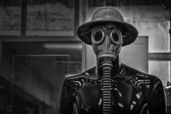 gas mask man (Daz Smith) Tags: dazsmith fujixt20 fuji xt20 andwhite bath city streetphotography people candid portrait citylife thecity urban streets uk monochrome blancoynegro blackandwhite mono mannequin gasmask