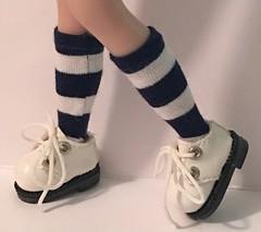 Little Navy And White Striped Short Socks...For Blythe...