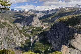 Liberty Cap, Nevada Falls and Vernal Falls from Panorama Trail. Yosemite