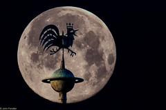 Church spire (Prismensucher) Tags: mond moon lunar night doubleexposure doppelbelichtung mehrfachbelichtung kirche hahn kirchturm kirchturmspitze church