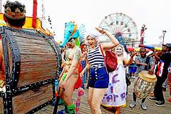 Mermaid Dance Party (kirstiecat (on vacation...)) Tags: politics mermaid nyc newyorkcity mermaidparade float people happy fun usa america canon street brooklyn coneyisland seahorse sailors drummers