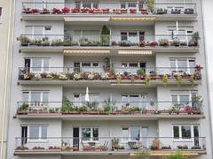 Colourful balconies (sander_sloots) Tags: flowers balconies mannheim colourful apartment block flats flatgebouw balkons bloemen kleurrijk