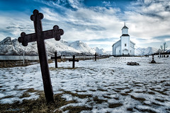 The road to spirituality XIX. (darklogan1) Tags: gimsoy norway norwegen church cross snow clouds zeiss lofoten logan darklogan1 islands northern europe north sky christian building architecture landscape nature rocks sea water mountains cloudy blue