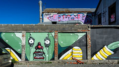 He Went That Way (Jocey K) Tags: southisland christchurch nikond750 architecture buildings mural streetart artwork tags shadows sky city cbd