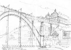 """Porto, un des deux ponts """"Eiffel"""" (Croctoo) Tags: croctoo croctoofr croquis crayon porto portugal pont"""