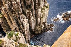 The Totem Pole (NettyA) Tags: 2017 3capestrack australia sonya7r tasmannationalpark tasmanpeninsula tasmania tassie threecapestrack bushwalk bushwalking hike seastack totempole capehauy dolerite columns day4 rock geology cliffs