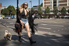 Walkin' the Dog 69/156 (markfly1) Tags: london england great britain british woman street candid 35mm manual focus lens d750 nikon nikkor road walking dog black boots swim suit high fashion tassles skimpy top sunglasses beautiful flouncy costume cute shadows light striding zebra crossing arrows markings