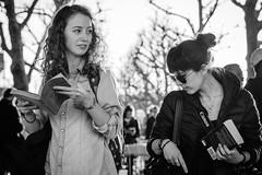 Browsing (jonron239) Tags: london women girls southbank bookstall expression contraluz longhair brunette redhead bun curls