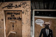 Press here for a better life (PaulHoo) Tags: nikon d700 city urban sign text humor fun amsterdam holland 2017 building renovation decay graffiti streetart