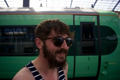 Jay (cshelleybrown) Tags: smile sunglasses jay jason train trains green brighton station nikon d3300 man boy beard