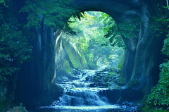 Waterfall in  Dark ditch (chikaraamano) Tags: noumizo waterfall valley cave stream water flow earlysummer naturallight land mystery nature interweaves fantastic landscape dark ditch forest outdoor