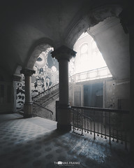 Time to Leave (Thomas Franke Photography) Tags: old house light grey blue beelitz steps treppe treppenhaus säulen architecture lost lostplace shadows schatten alt verlassen ruine