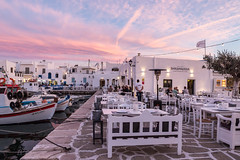 The Pink Hour (Maria-H) Tags: naousa egeo greece gr sunset harbour boats paros cyclades olympus omdem1markii panasonic 1235