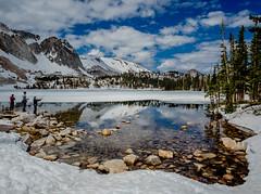 Fishing, Lake Marie, Snowy Range, #3 (andertho) Tags: wyoming snowy range mountains snow melt spring reflection olympus omd em1ii