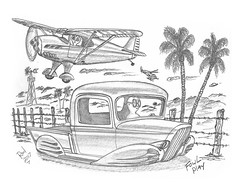 Fowl Play (rod1691) Tags: sketch bw scifi alien concept custom car retro space palmsprings hotrod drawng pencil h2 hb ink original story fantasy funny automotive art illistration greyscale moonpies