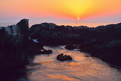 Sea in early summer in the setting sun 1 (chikaraamano) Tags: sea sunset wave sun earlysummer horizon bigrocks sinks themoment color outdoor sky gently water blazes evening dyed wonderful timeandspace feelingsolemnly invited impression