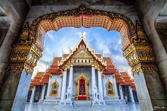Wat Benchamabophit temple (Sutiwat Vej) Tags: thai thailand temple buddhism wat benchamabophit sky cloud fuji fujifilm architecture bangkok wide lands landscape history monk ancient