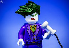 Joker BlowDry (Jezbags) Tags: lego legos toys toy canon60d canon 60d 100mm minifigure minifigures macro macrophotography macrodreams macrolego closeup upclose joker batman batmanthemovie hair hairdryer blowdry blow purple blue green face