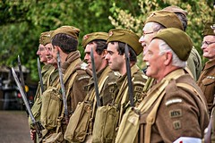Privates on parade. (Steve.T.) Tags: taw17 templeatwar cressingtemple essex templeatwar2017 homeguard homeguardreenactors soldiers army rifles bayonet nikon d7200 sigma18200 dadsarmy parade onparade standingtoattention reenactors