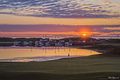 Sunset over the docks of Inverness and Cabot Links (Rob Romard) Tags: golf cabot links capebreton sunset dunes ocean pond boats clouds reflection