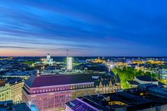 Helsinki skyline (Maria_Globetrotter) Tags: finland helsinki summer dscf7522hdrlr aerial blue hour helsingfors blå timmen vackert beautiful