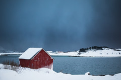 Red house (martinzorn) Tags: norway norge norwegen snow landscape winter cold travel europe lofoten house cottage