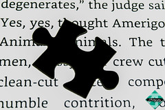 The Missing Piece (smzoha) Tags: bw black white abstract jigsaw puzzle macro macromonday silhouette shadows light dark book text mystery