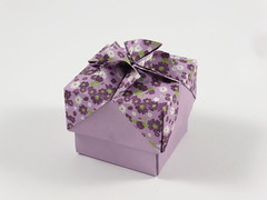 Box with Ribbon Bow (diagonal) (Michał Kosmulski) Tags: origami box tessellation sunflower ribbon bow colorchange kamipaper michałkosmulski purple violet