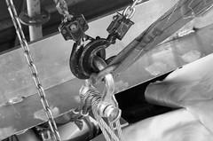 Block and Tackle (hp181san) Tags: blackandwhite bw germany shipyard blockandtackle chains engine aluminum shackle industrial