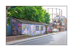 Street Art (HNRX), East London, England. (Joseph O'Malley64) Tags: hnrx streetartist streetart urbanart publicart freeart graffiti eastlondon eastend london england uk britain british greatbritain art artist artistry artwork murals muralist wallmurals wall walls workshops victorianbuildings victorianstructures brickwork bricksmortar cement pointing corrugatedsteelroofingpanels slateroofingtiles corrugatedasbestosroofingpanels steelframedwindows brokenwindows gasometer industrialheritage soontobedemolished sycamoretrees doors doorways entrances exits corrugatedsteelfencepanel railwaybridge railwayviaduct railwayproprerty accesscovers pavement composite tarmac doubleyellowlines noparkingatanytime parkingrestrictions tags throwies moss awning urban urbanlandscape aerosol cans spray paint fujix x100t accuracyprecision
