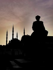 Minarets of Selimiye Mosque and Sinan The Architect (Harun Turan) Tags: minarets selimiye mosque history historical architect osmanlı ottoman famous sunset turkey edirne silhouette siluet heykel statue sinan mimar