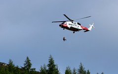 rescued................. (Suzie Noble) Tags: struy strathglass helicopter coastguardhelicopter coastguards hill hillside trees pinetrees wood forest rescue