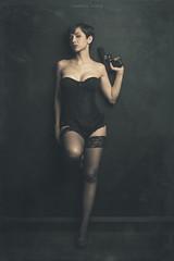 FEMME FATALE (El Fotografero) Tags: sexy beauty model gun lingerie black shorthair criminal girl femme fatale portrait