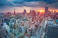 Tokyo. (Rudi1976) Tags: tokyo japan tower cityscape skyline downtown architecture asia modern urban skyscraper city summer sky exterior travel tourism landmark traveldestination businessdistrict evening sunset dusk buildings famousplace televisiontower officebuilding financialdistrict outdoor twilight antenna japanese tvtower attraction lights view dark street dense building
