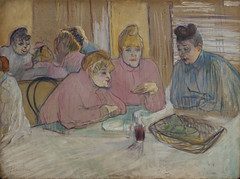 These Ladies in the Dining Room (A4&Holofote | Cultura) Tags: brothel diningroom ladies woman women mirror table reflection glass wine chat tray bun conversation