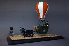 Steampunk Stagecoach (Dwalin Forkbeard) Tags: moc lego western carriage steampunk baloon horse aircraft air