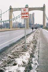No parking (vdezutti) Tags: 35mm film minneapolis minnesota color twin cities city midwest bridge belt beer neon sign winter grain mississippi river hennepin northeast downtown stone arch vivitar v335