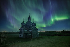 On Earth as it is in Heaven (gerrypocha) Tags: church abandoned derelict saskatchewan prairie night stars aurora