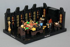 Blackfort Dining Hall (jsnyder002) Tags: lego moc creation blacktron castle medieval dining hall fireplace floor mosaic symbol black yellow window snot cheese design