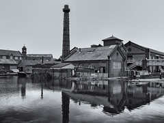 Canal workshops (Tim Ravenscroft) Tags: canal museum workshops buildings chimney reflections monochrome blackandwhite blackwhite hasselblad hasselbladx1d x1d ellesmereport england