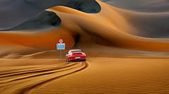 Sicurezza stradale (Zz manipulation) Tags: art ambrosioni zzmanipulation polizia sicurezza strda limite velocita car macchina divieto deserto sand sabbia