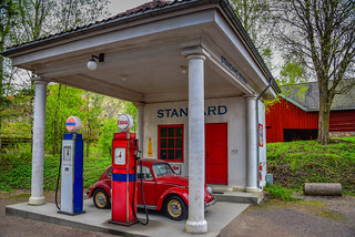 Standard Oil gas station of 1928 relocated from Holmestrand at Norsk Folkemuseum - Oslo Norway